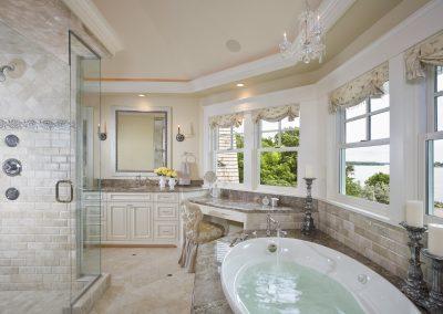 Upscale bathroom with whirlpool bathtub and walk-in shower